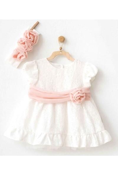 Andywawa Kız Bebek Bandanalı Elbise Ekru AC20734