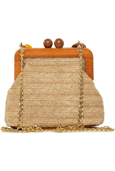 Bagmori Vizon Ahşap Burslu Hasır Çanta