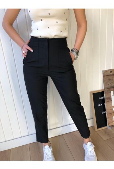 Moda Çelikler Siyah Atlas Kumaş Pantolon