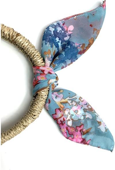 Duanil Kadın Çiçek Desenli Şifon Çanta Aksesuar Fuları