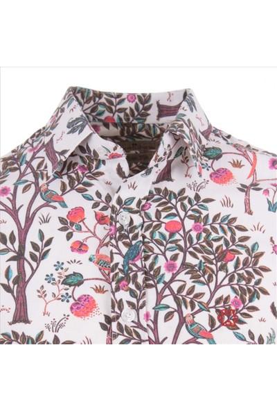 Gentilbay Çınar Meyve Ağaç Orman Çiçek Baskılı Mor Dpd132 Spor Erkek Gömlek