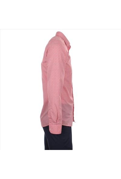 Gentilbay Çıtır Desenli Geometrik Baskılı Pembe Dc1002 Slim Spor Erkek Gömlek