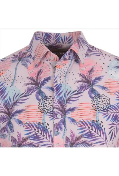 Gentilbay Hawaii Palmiye Orman Gezegen Doğa Pembe Dpd144 Spor Erkek Gömlek
