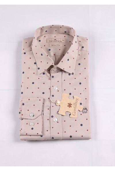 Gentilbay Puanlı Noktalı Desenli Krem Dc1012 Pamuklu Klasik Erkek Gömlek