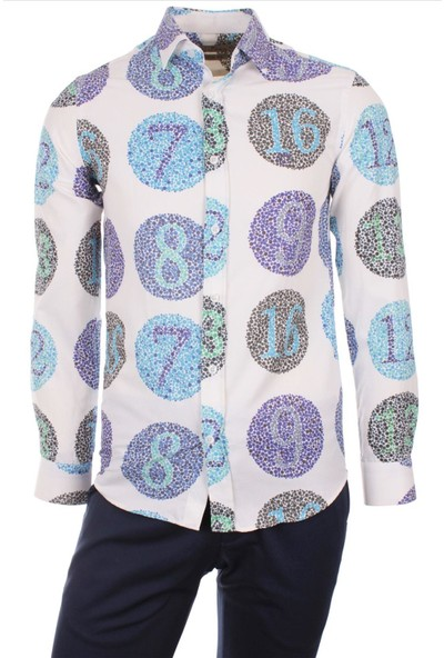 Gentilbay Sayılar Kör Göztest Test Baskılı Mor Dpd104 Pamuklu Spor Erkek Gömlek