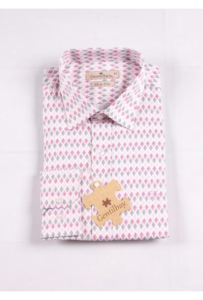 Gentilbay Üçgen Baklava Pembe Baskılı Dpd038 Pamuklu Spor Erkek Gömlek