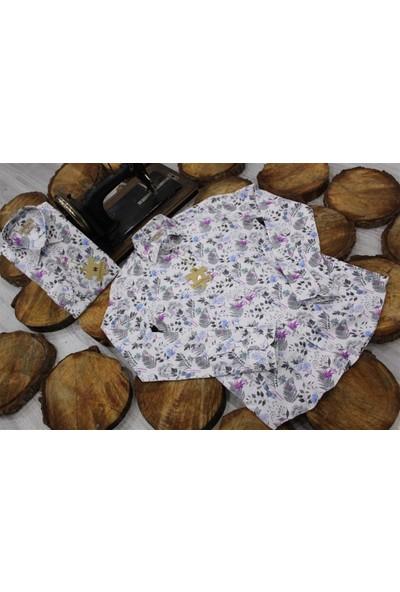 Gentilbay Yaprak Bitki Çiçekli Baskılı Pembe Dpd077 Pamuklu Spor Erkek Gömlek