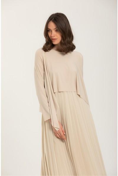 Terzi Dükkanı Şal Yaka Plise Elbise