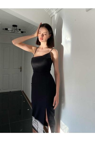 Eyyo Yırtmaç Detay Askılı Elbise