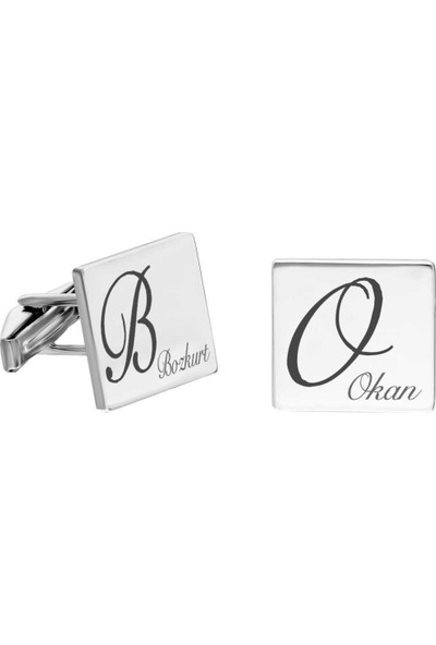 Pigado Kişiye Özel Isim Yazılı Kare Tasarım 925 Ayar Gümüş Kol Düğmesi