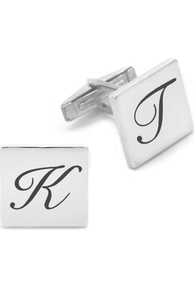 Pigado Kişiye Özel Harf Yazılı Kare Tasarım 925 Ayar Gümüş Kol Düğmesi