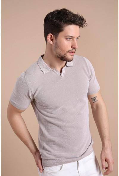 Ferraro A.Bej Beyaz Kuşgözü Desenli Polo Yaka Erkek Triko T-Shirt