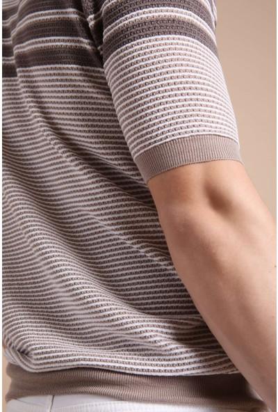 Ferraro A.Bej Nescafe Polo Yaka Fermuarlı Erkek Pamuk Triko T-Shirt
