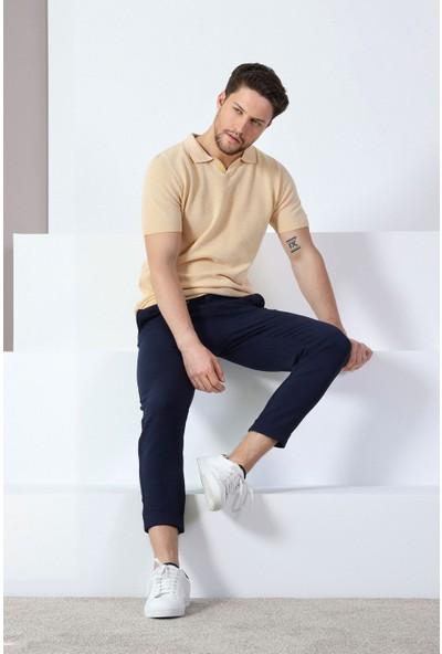 Ferraro Hardal Beyaz Kuşgözü Desenli Polo Yaka Erkek Triko T-Shirt