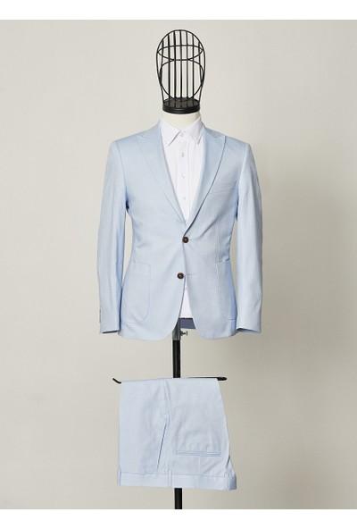 Altınyıldız Classics Ekstra Slim Fit Mavi Spor Koton Takım Elbise