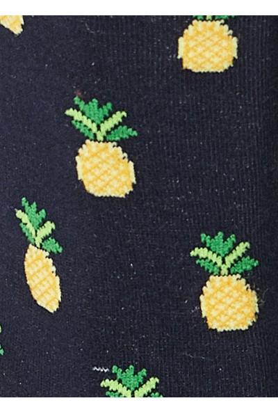 Altınyıldız Classics Lacivert-Sarı Ananas Desenli Tekli Uzun Soket Çorap