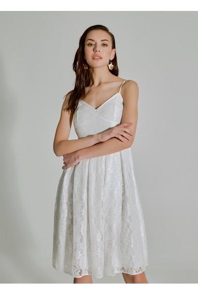 People By Fabrika Kadın Dantelli Askılı Elbise