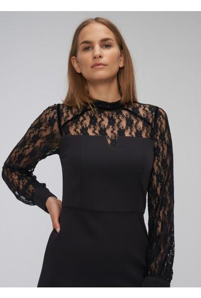 People By Fabrika Kadın Dantelli Dar Elbise