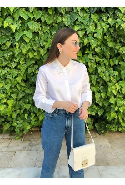 Ngstyle Kadın Yakası Dantelli Poplin Gömlek