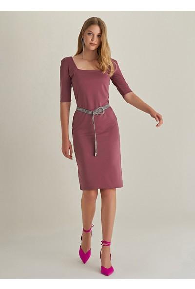 Ngstyle Kadın Kare Yaka Örme Elbise