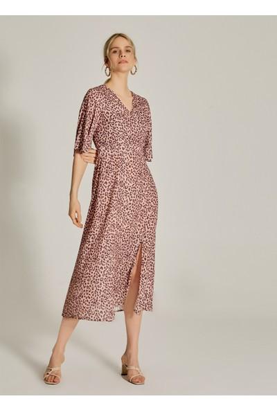 Ngstyle Kadın Desenli Yırtmaç Detaylı Elbise