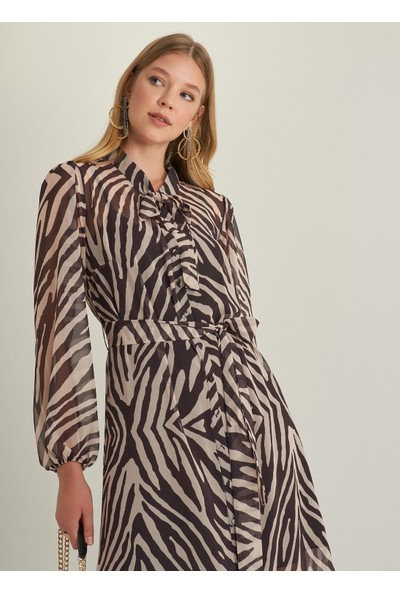 Ngstyle Kadın Zebra Desenli Elbise