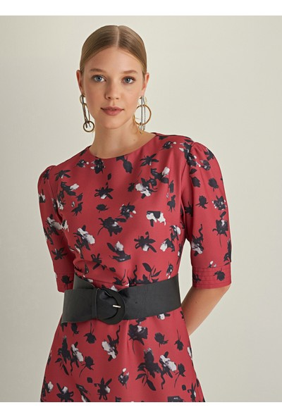 Ngstyle Kadın Balon Kollu Desenli Elbise