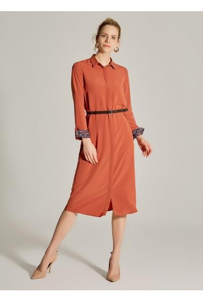 Ngstyle Kadın Kemerli Midi Gömlek Elbise