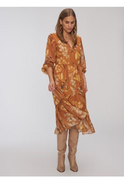 People By Fabrika Kadın V Yakalı Desenli Elbise