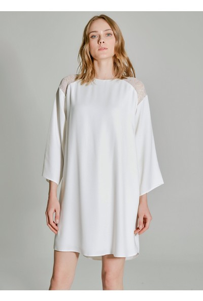 People By Fabrika Kadın Omuzları Dantel Detaylı Elbise