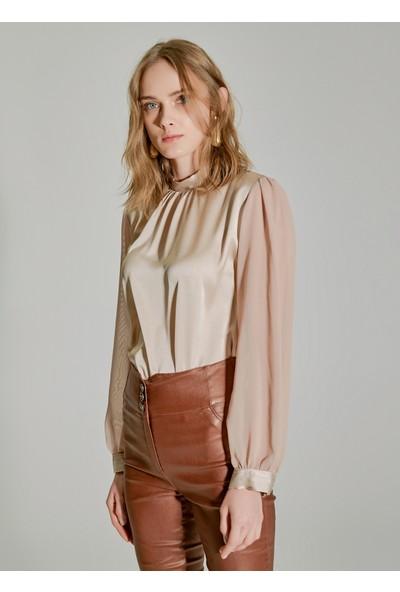 People By Fabrika Kadın Şifon Detaylı Bluz