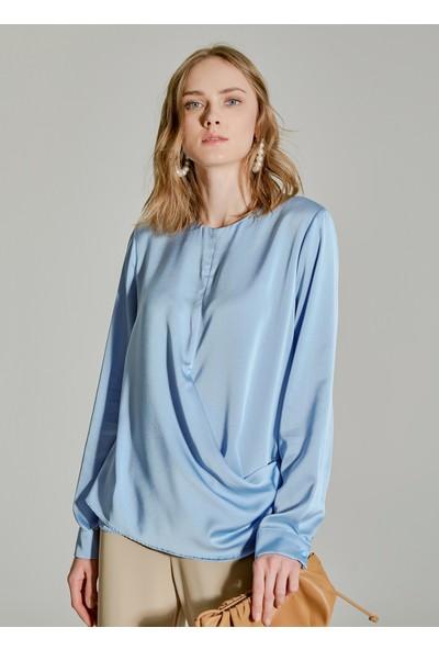 People By Fabrika Kadın Bel Detaylı Saten Bluz