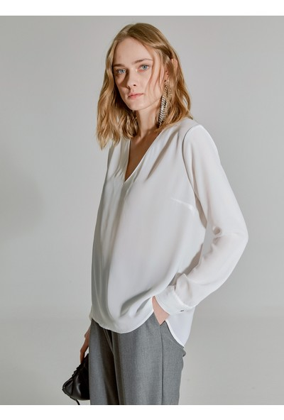 People By Fabrika Kadın V Yaka Bluz