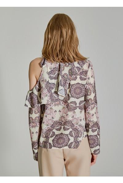People By Fabrika Kadın Kol Detaylı Desenli Bluz