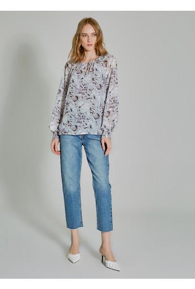 People By Fabrika Kadın Desenli Yaka Ve Kol Detaylı Bluz