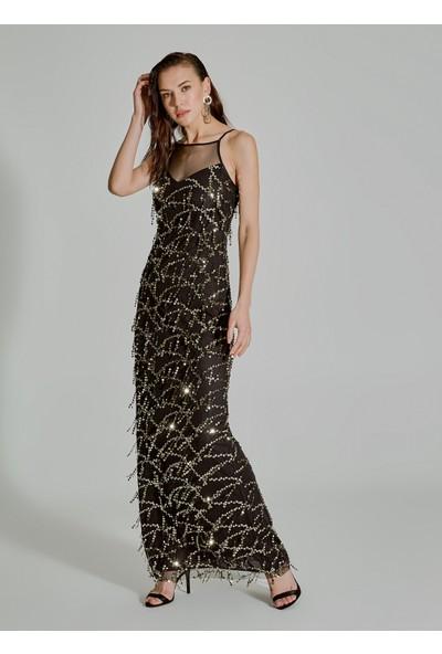 People By Fabrika Kadın Payetli Püsküllü Elbise