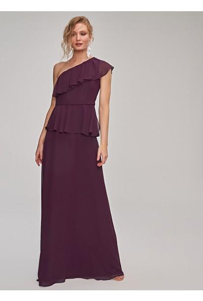 People By Fabrika Kadın Tek Kol Fırfırlı Uzun Elbise