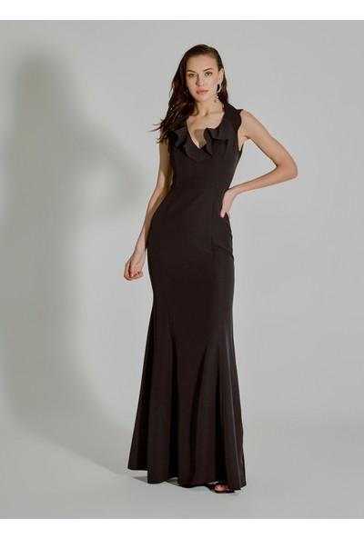 People By Fabrika Kadın Volan Detaylı Abiye Elbise