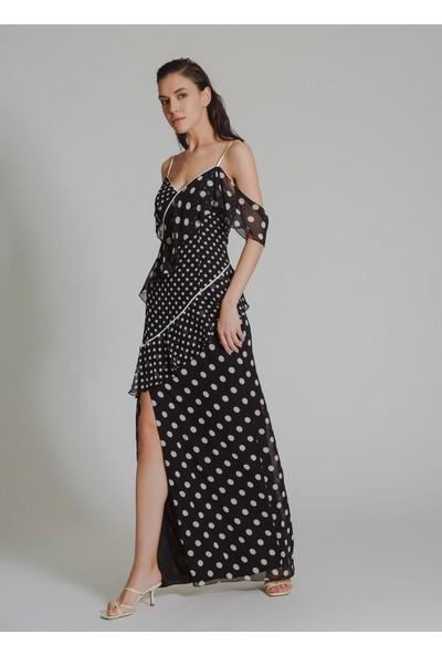 People By Fabrika Kadın Puantiyeli Volan Detaylı Abiye Elbise