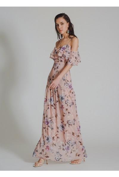 People By Fabrika Kadın Desenli Volanlı Kol Detaylı Abiye Elbise