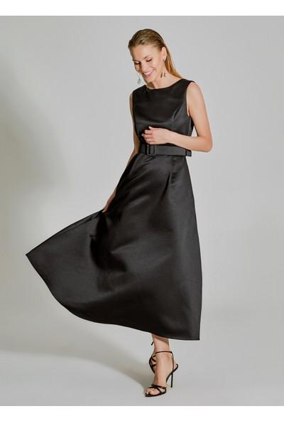 People By Fabrika Kadın Saten Kemerli Abiye Elbise