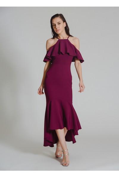 People By Fabrika Kadın Volanlı Abiye Elbise
