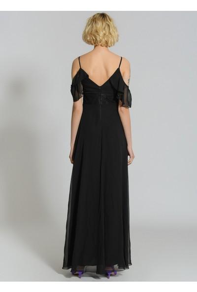 People By Fabrika Kadın Kolları Volanlı Abiye Elbise