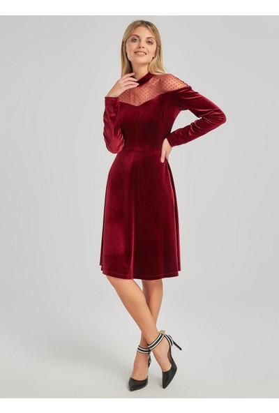 People By Fabrika Kadın Tül Detaylı Kadife Elbise