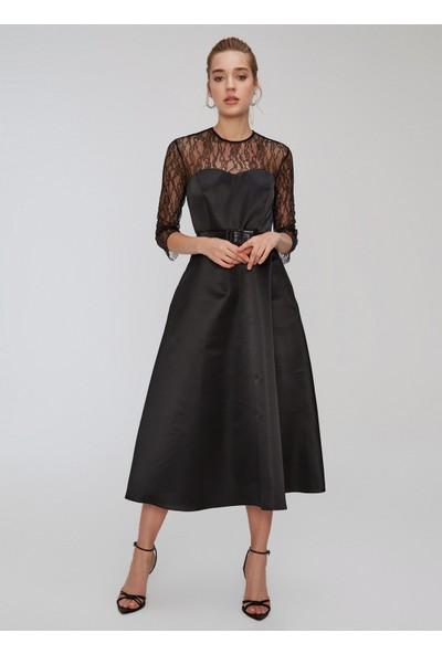 People By Fabrika Kadın Dantel Detaylı Saten Elbise