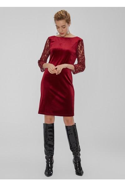 People By Fabrika Kadın Dantel Detaylı Kadife Elbise