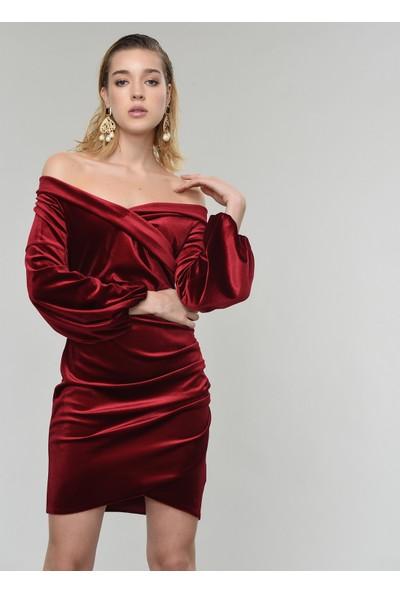 People By Fabrika Kadın Carmen Yaka Kadife Elbise