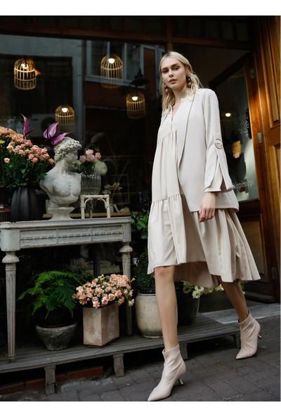 People By Fabrika Kadın Hakim Yaka Bol Elbise