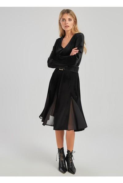 People By Fabrika Kadın Şifon Detaylı Kadife Elbise