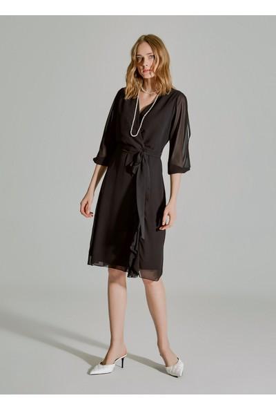 People By Fabrika Kadın Kol Detaylı Volanlı Şifon Elbise